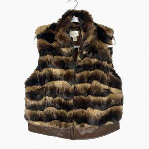 Chico's Brown Tan Faux Fur Zip Up Vest Medium